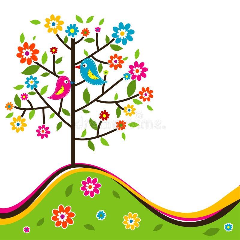 装饰花卉结构树和鸟,向量 库存例证