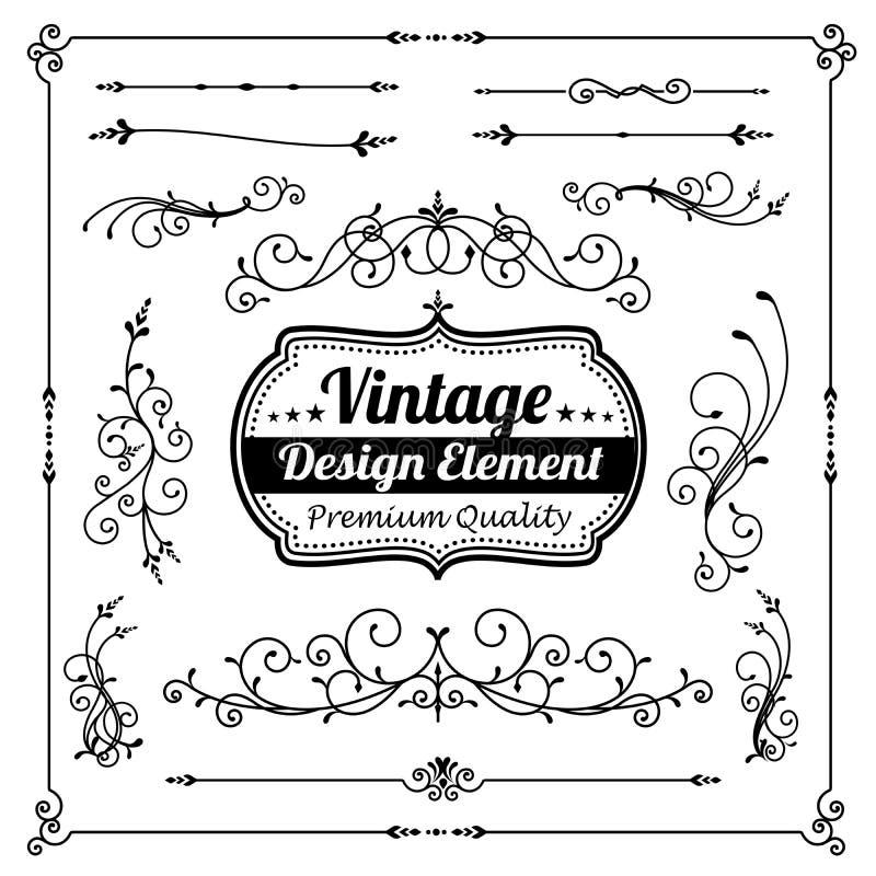 装饰葡萄酒和经典设计元素的汇集 向量例证