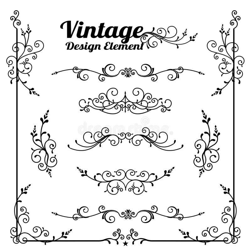 装饰葡萄酒和经典设计元素vect的汇集 向量例证