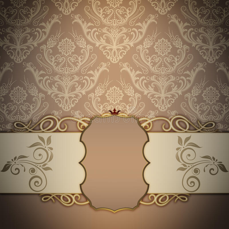 装饰葡萄酒背景和典雅的框架 库存例证