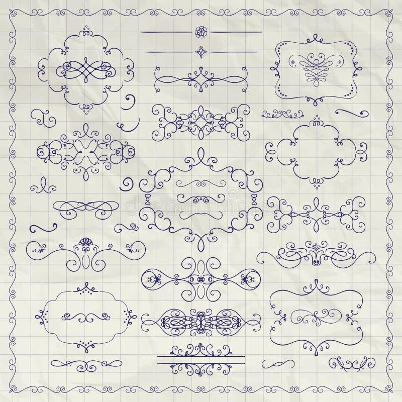 画装饰葡萄酒设计元素的传染媒介笔 皇族释放例证
