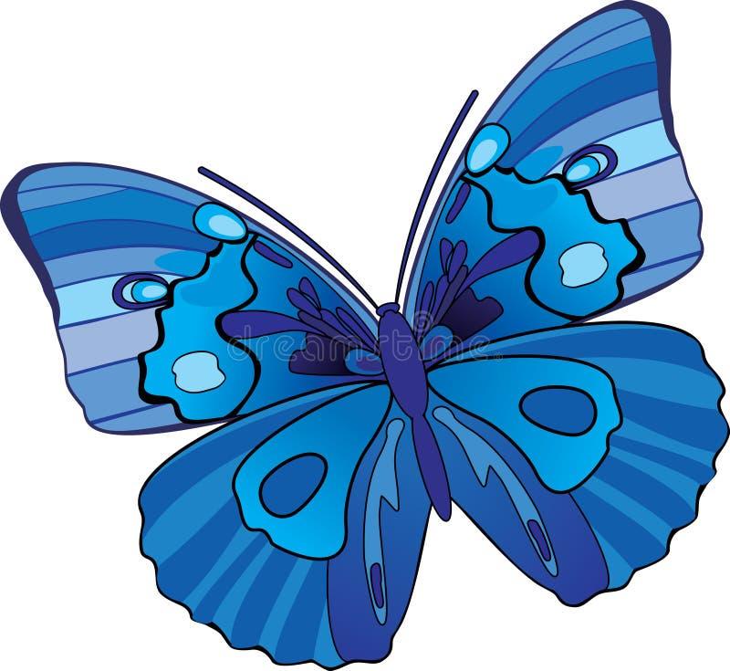 装饰蓝色的蝴蝶 向量例证