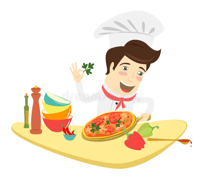装饰薄饼盘的滑稽的厨师在厨房里 向量例证