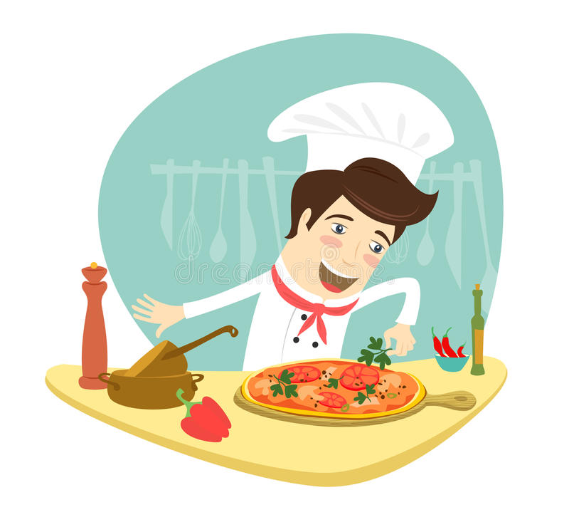 装饰薄饼盘的滑稽的厨师在厨房里 库存例证
