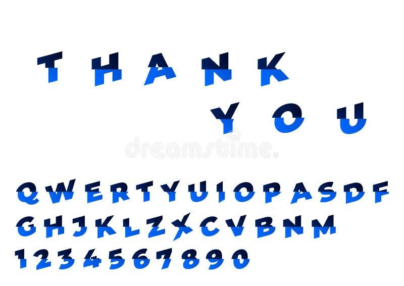 装饰被切的字体 不同的树荫的蓝色颜色 向量 皇族释放例证