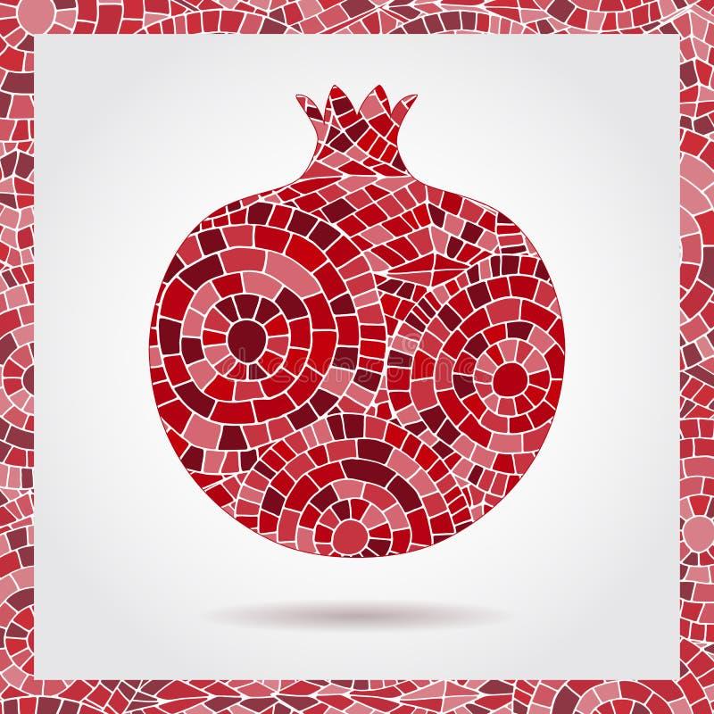 装饰装饰石榴由镶嵌构造制成 果子商标的传染媒介例证 疯狂的颜色摘要手拉的vect 皇族释放例证