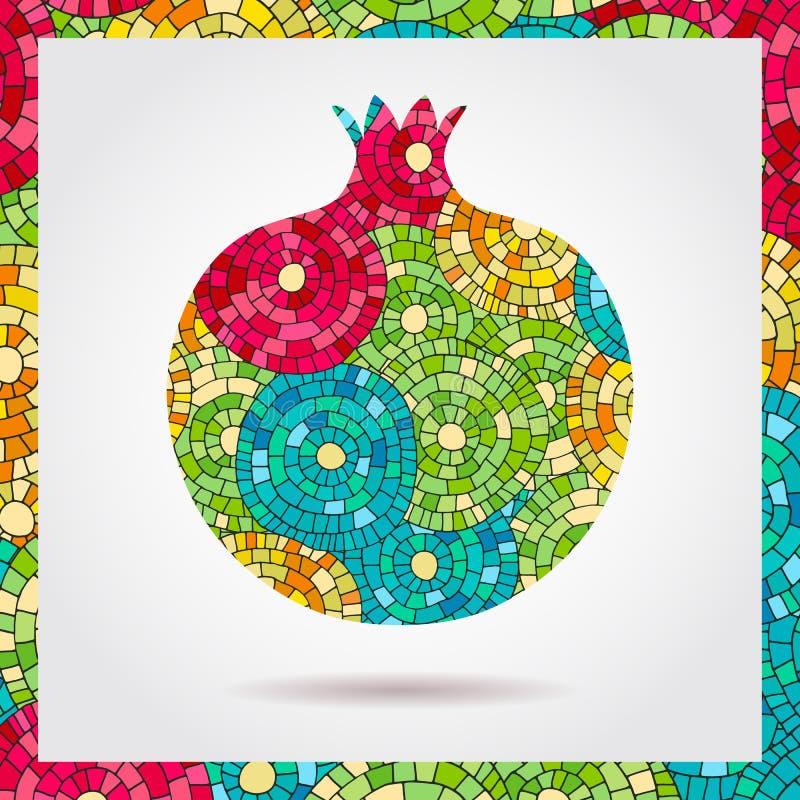 装饰装饰石榴由镶嵌构造制成 果子商标的传染媒介例证 疯狂的颜色摘要手拉的vect 向量例证