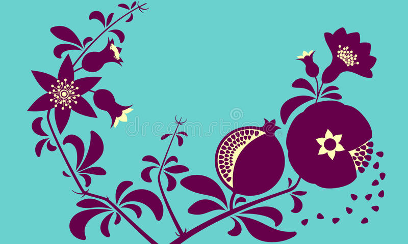 装饰装饰石榴分支 开花的分支和石榴果子 向量例证
