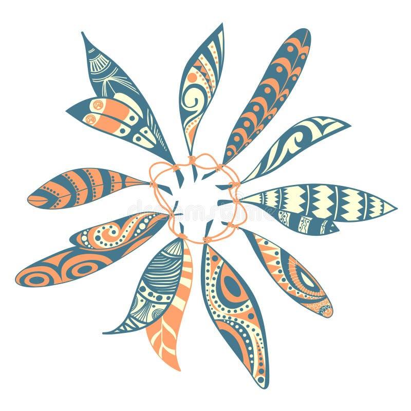 装饰装饰种族羽毛 向量例证