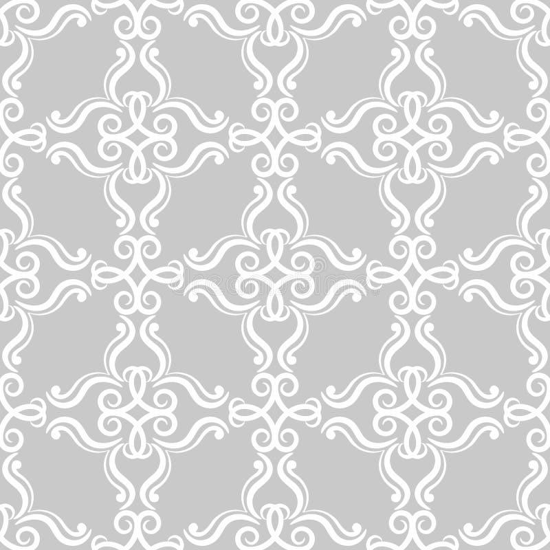装饰要素花饰葡萄酒 织品和墙纸的灰色无缝的样式 皇族释放例证