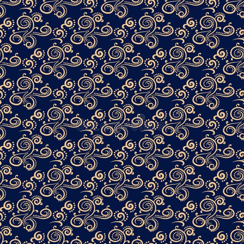 装饰要素花饰葡萄酒 织品和墙纸的蓝色和金黄无缝的样式 向量例证
