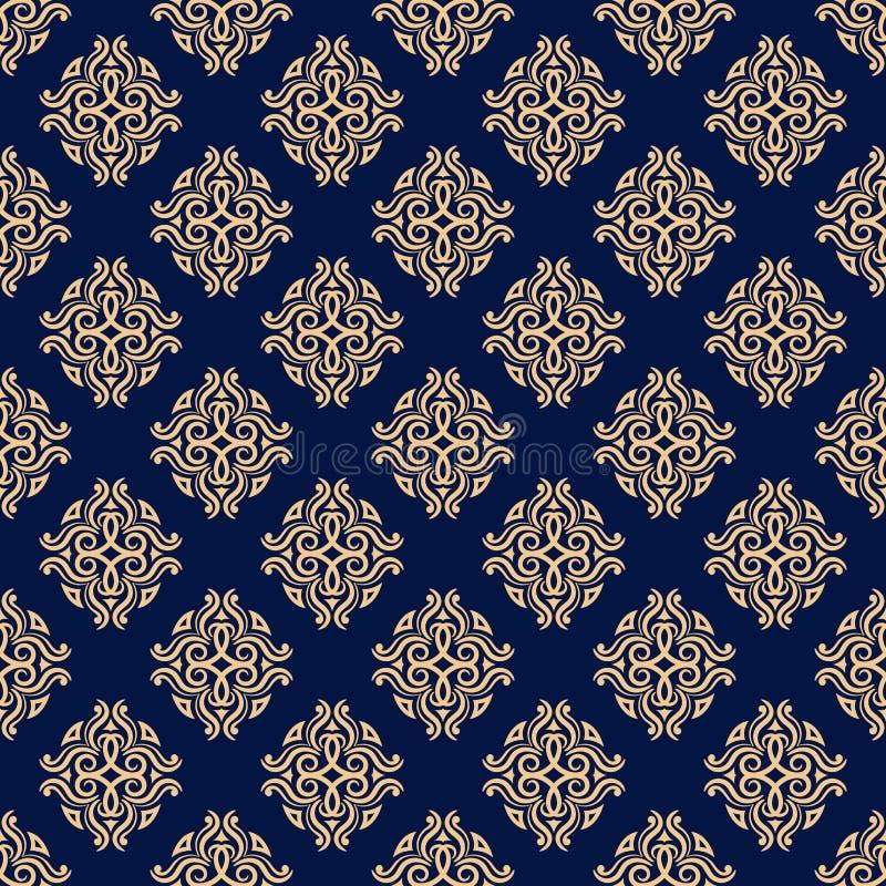 装饰要素花饰葡萄酒 织品和墙纸的蓝色和金黄无缝的样式 库存例证