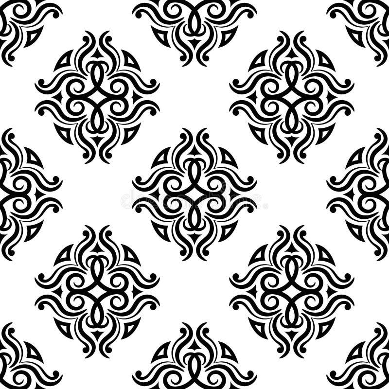装饰要素花饰葡萄酒 织品和墙纸的黑白无缝的样式 皇族释放例证