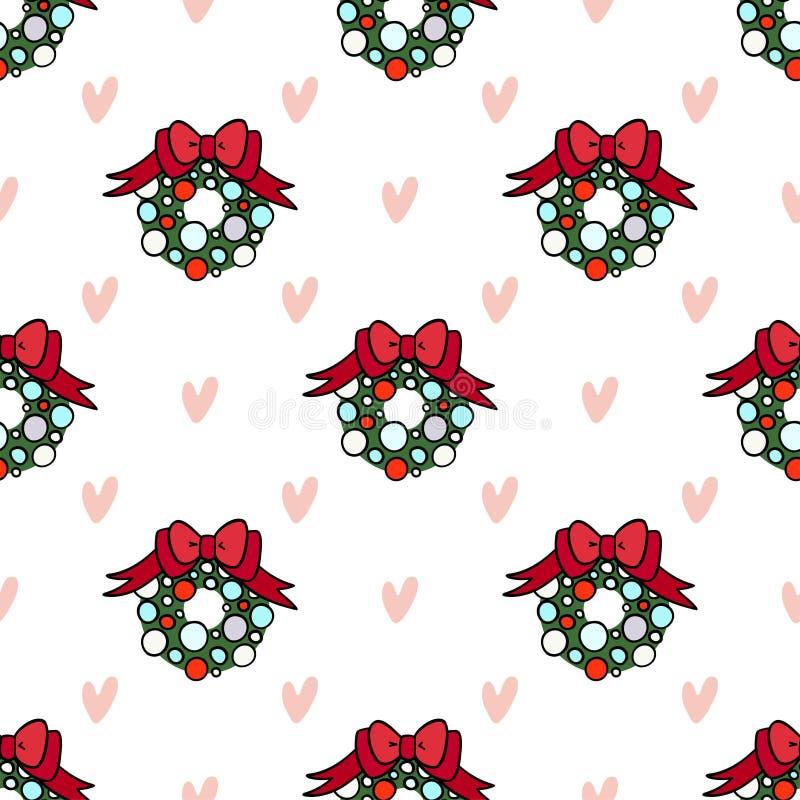 装饰设计的传染媒介无缝的样式 与心脏的圣诞节花圈在轻的背景 库存例证