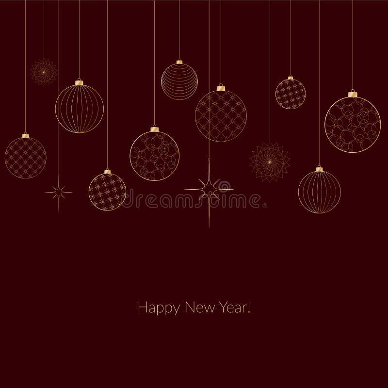 装饰轻的新年的金黄球的装饰品圣诞节和新年样式的为明信片邀请广告冬天 皇族释放例证
