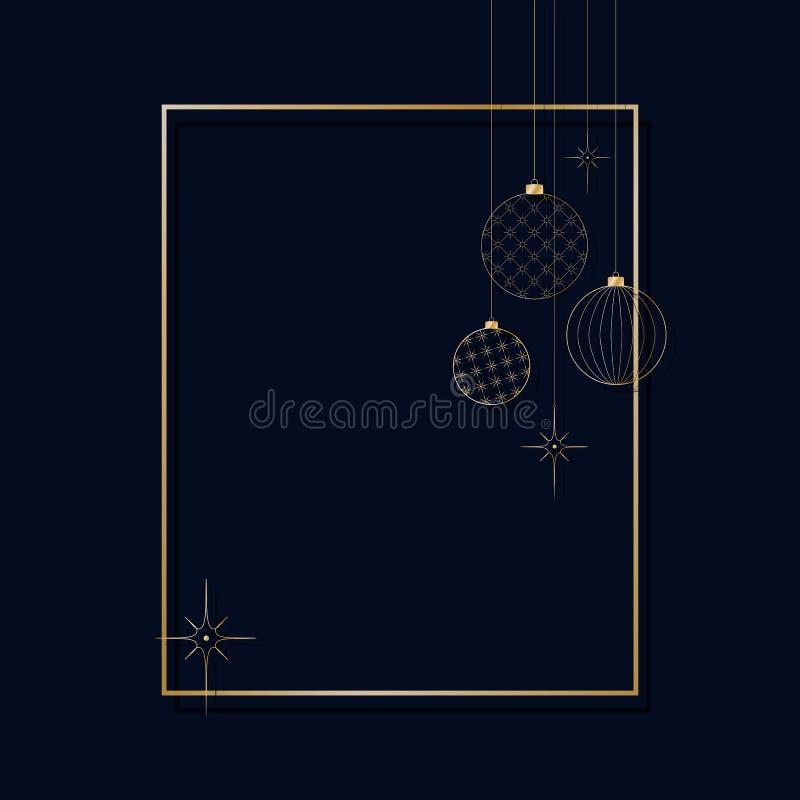 装饰轻的新年的金黄球的装饰品圣诞节和新年样式的为明信片邀请广告冬天 向量例证