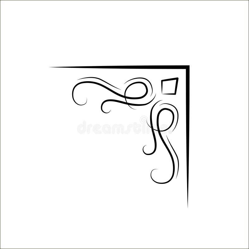 装饰金银细丝工的swirly角落 葡萄酒设计元素 向量 皇族释放例证