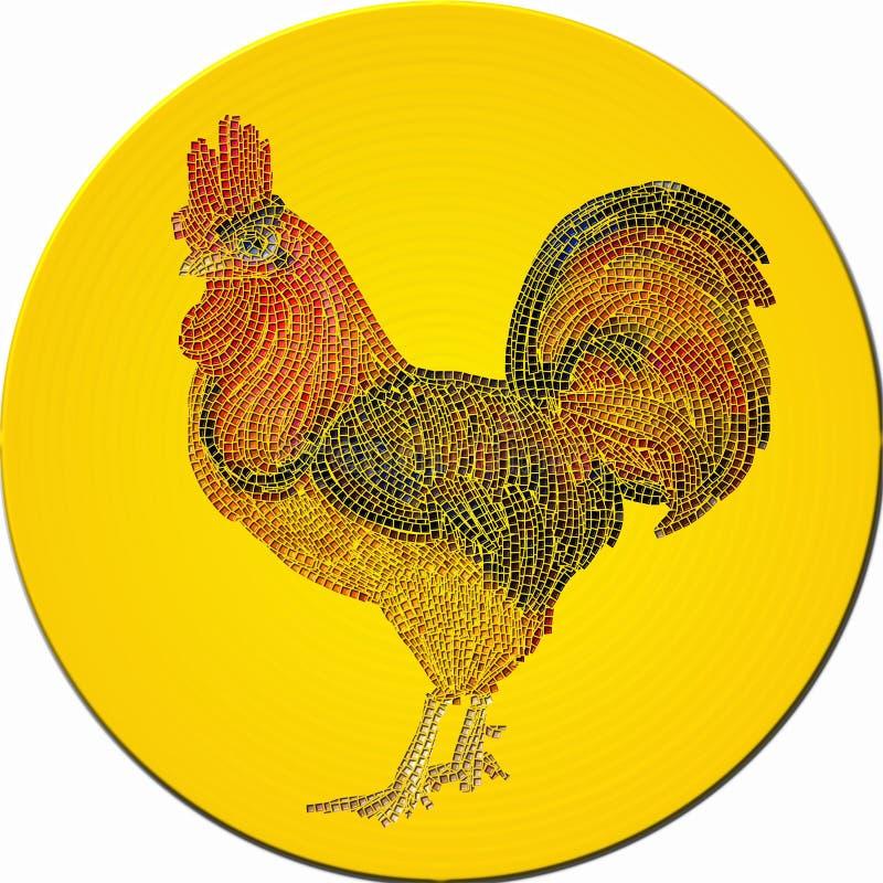 装饰雄鸡的马赛克 皇族释放例证