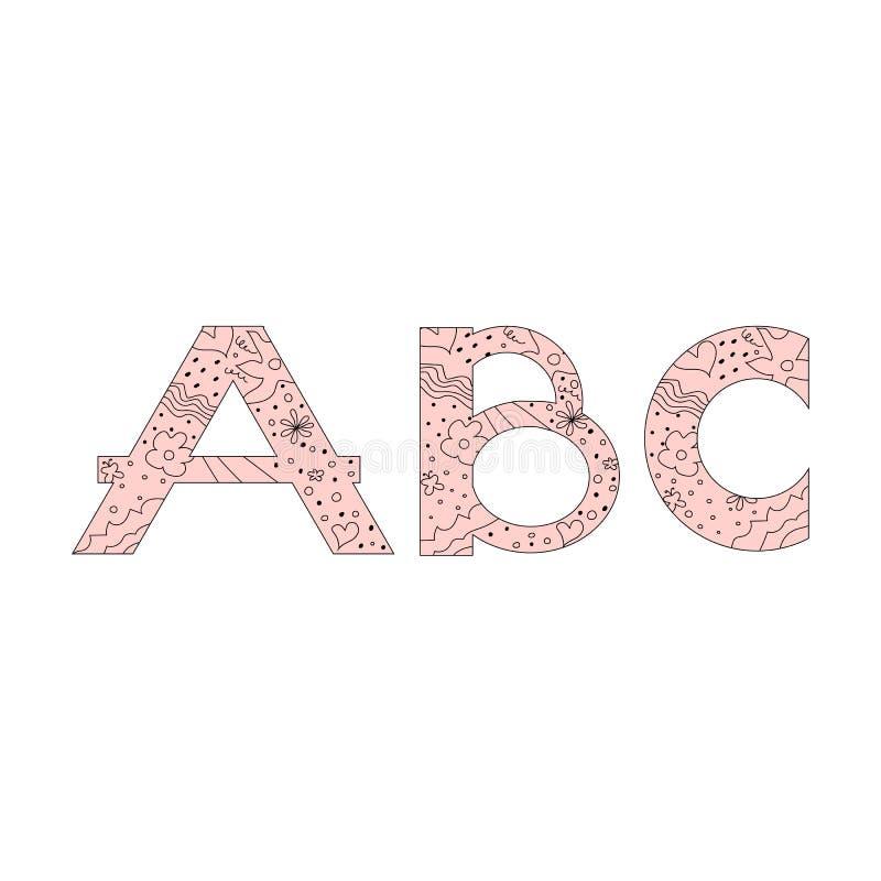 装饰集合花卉乱画样式信件字母表abc字体 在时尚手拉的春天花、心脏和圆点上写字 库存例证