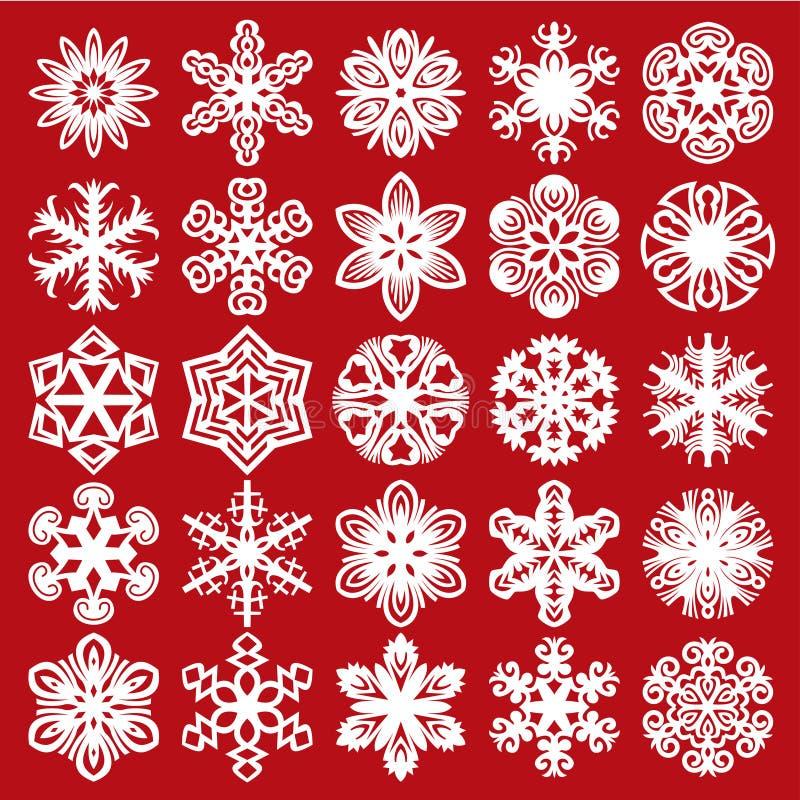 装饰雪花 在红色的白色(设置1) 向量例证