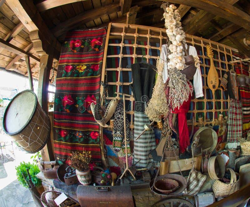 装饰项目保加利亚农村小酒馆 免版税库存照片