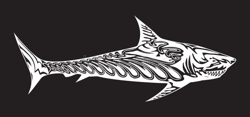 装饰食肉动物的鱼 鲨鱼白色剪影在黑背景的 象征或商标的传染媒介例证 皇族释放例证