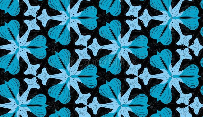 装饰鸟和鱼纹理在Escher样式 库存例证