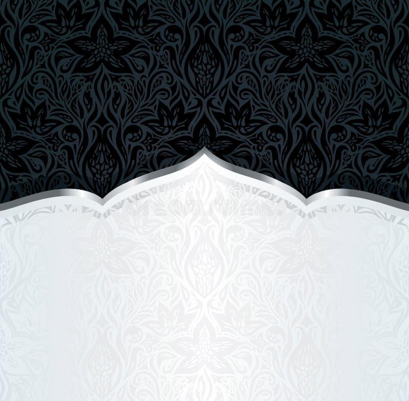 装饰黑色&金花卉豪华墙纸背景时髦时尚坛场设计 向量例证