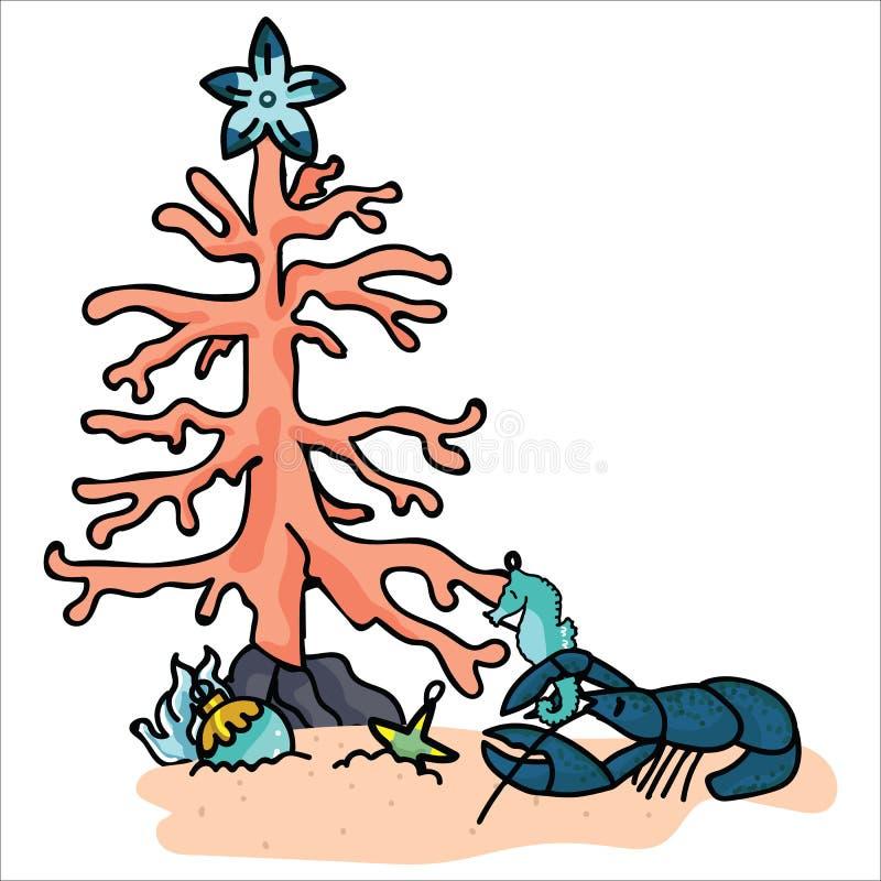 装饰龙虾动画片传染媒介例证主题集合的逗人喜爱的水下的圣诞树 手拉的被隔绝的海象 向量例证
