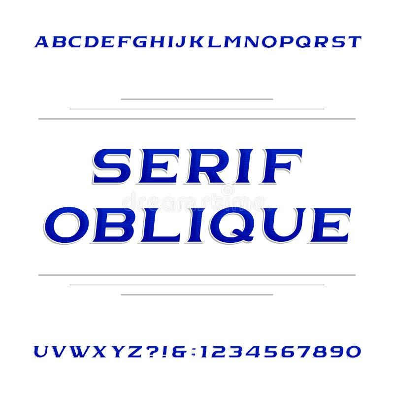 装饰细体字母表向量字体 倾斜信件和数字 向量例证