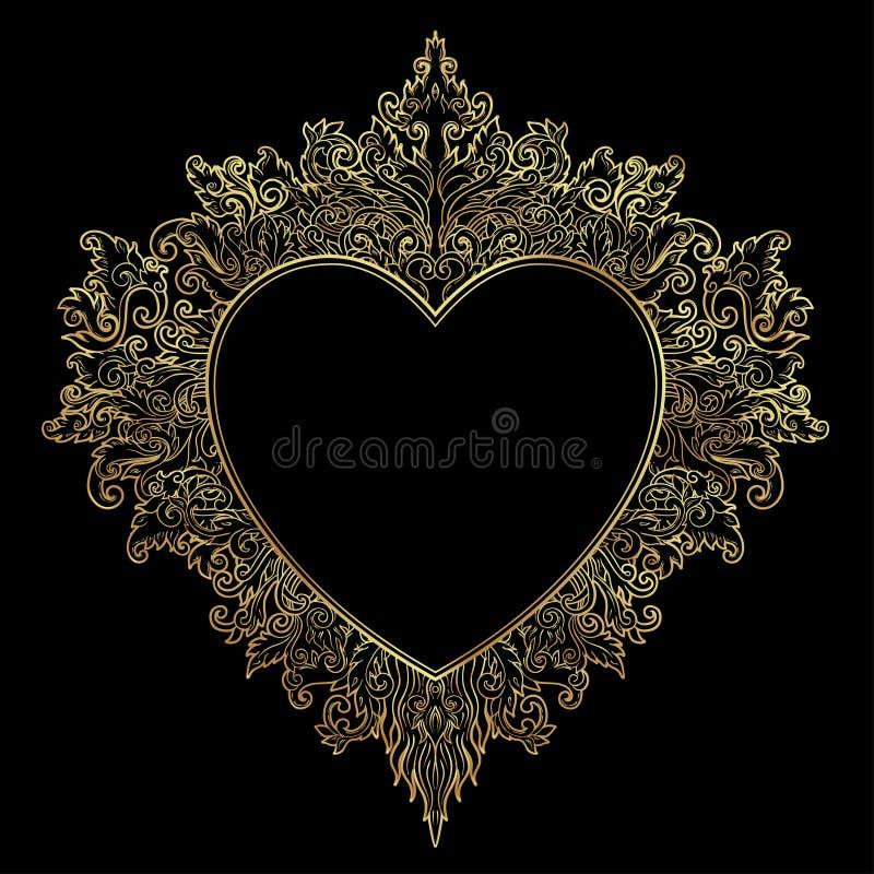 装饰巴厘语样式心脏 传染媒介华丽的情人节 皇族释放例证
