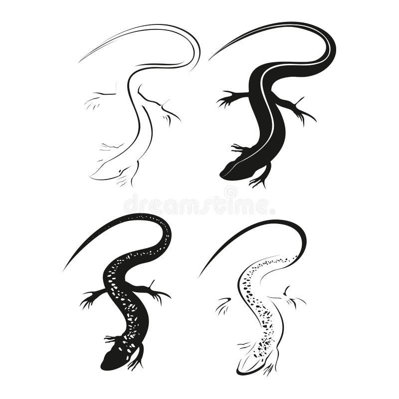 装饰黑蜥蜴 在白色背景隔绝的蜥蜴图表样式 皇族释放例证