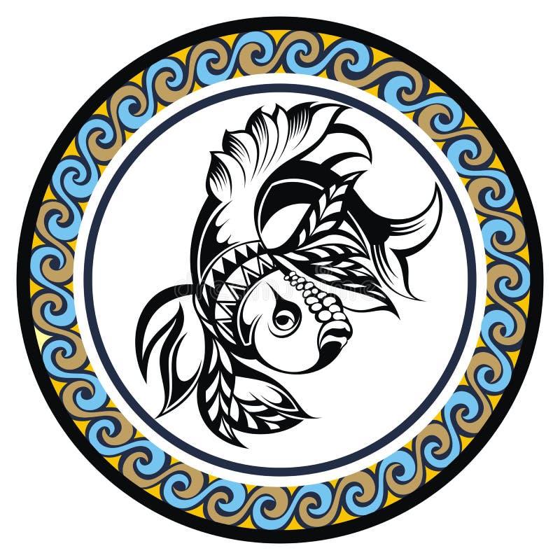 装饰黄道带标志双鱼座 库存例证