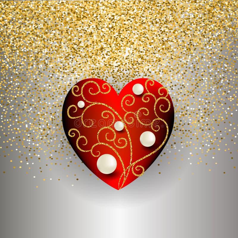 装饰3d传染媒介爱心脏设计 金闪光银色华丽发光的背景 白色珍珠,闪烁线,漩涡 向量 向量例证