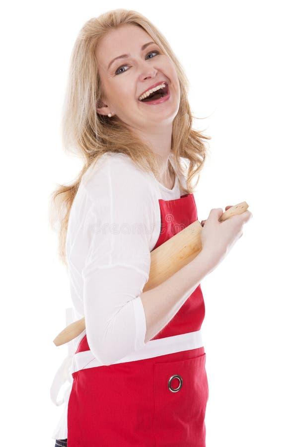 围裙的女性厨师 库存照片