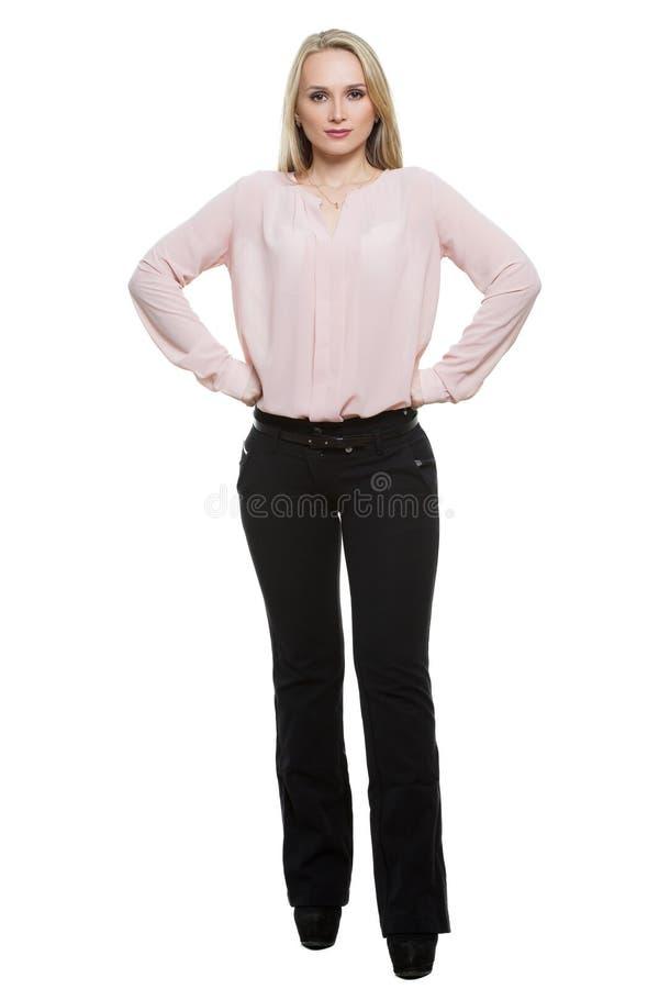 裤子的女孩和blous 查出在白色 库存图片