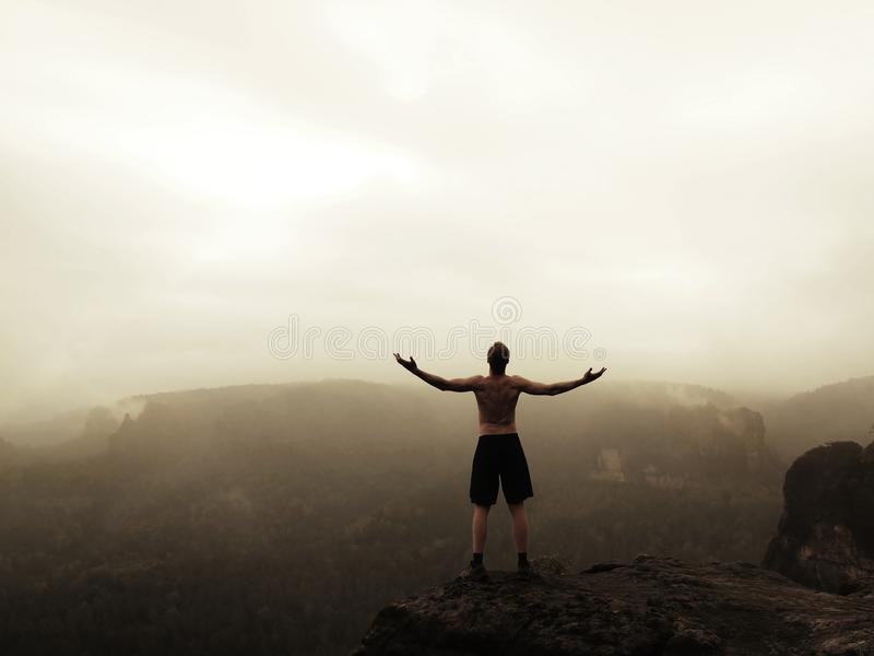 黑裤子的登山人 胜利姿态  砂岩岩石峰顶的赤裸游人在薄雾上的 库存照片