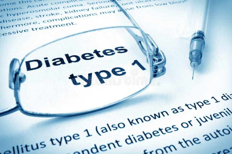 裱糊与词糖尿病第一类型 免版税库存照片