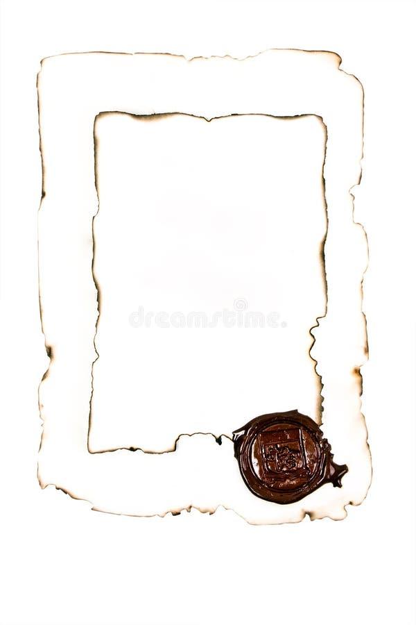 裱糊被烧焦的打印 免版税库存照片