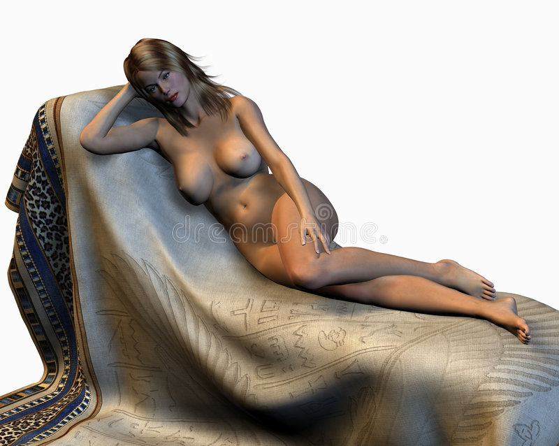 裸体斜倚的妇女 免版税库存照片