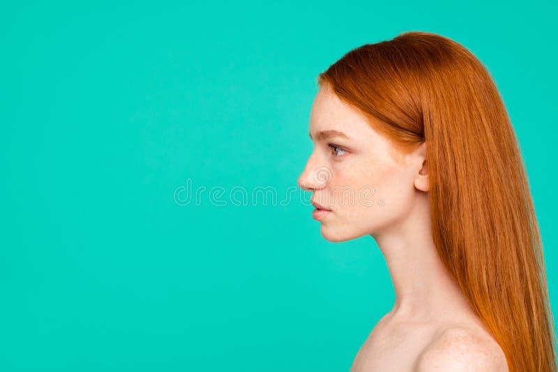 裸体自然红发女孩,发光的纯净的分类外形侧视图  库存图片
