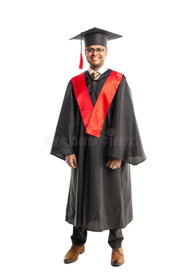 褂子和盖帽的男性非裔美国人毕业生 库存图片