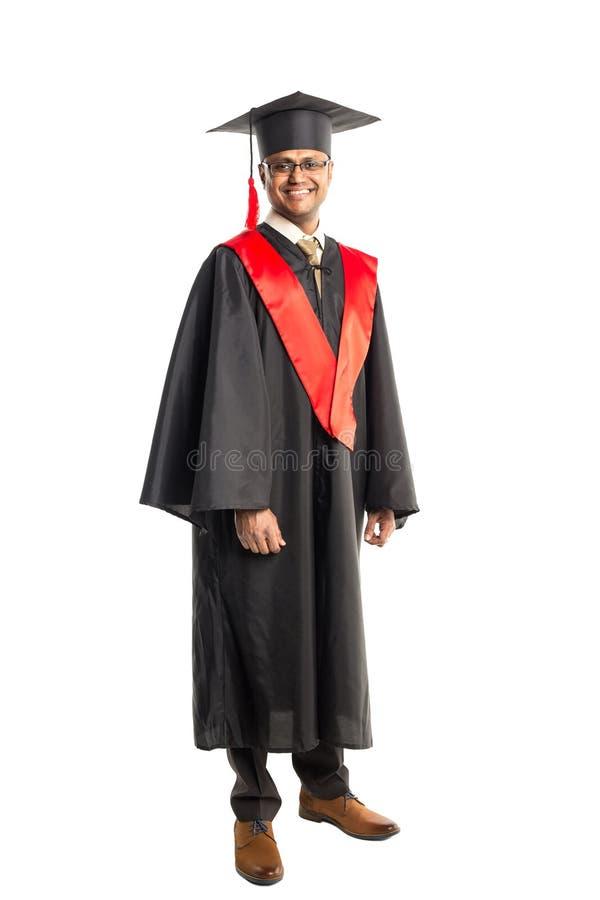 褂子和盖帽的男性非裔美国人毕业生 免版税库存照片