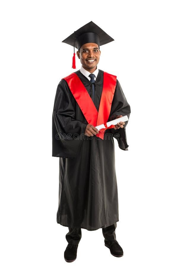 褂子和盖帽的男性非裔美国人毕业生 免版税库存图片