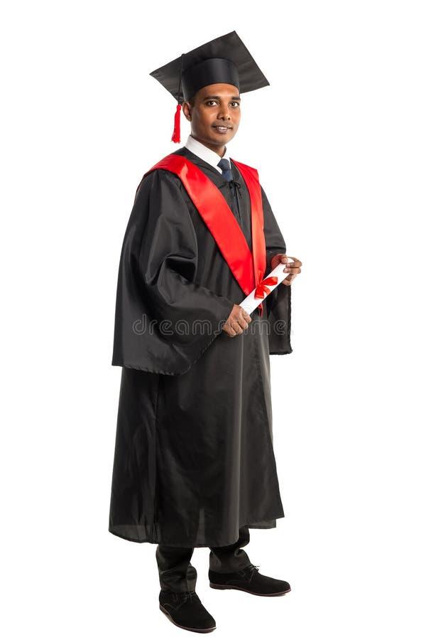 褂子和盖帽的男性非裔美国人毕业生 免版税图库摄影
