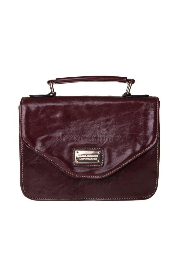 褐红的方形的女性提包 免版税库存图片