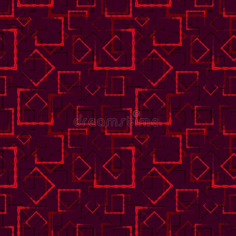 褐红的被雕刻的正方形和框架的一个抽象红色背景或样式 库存例证