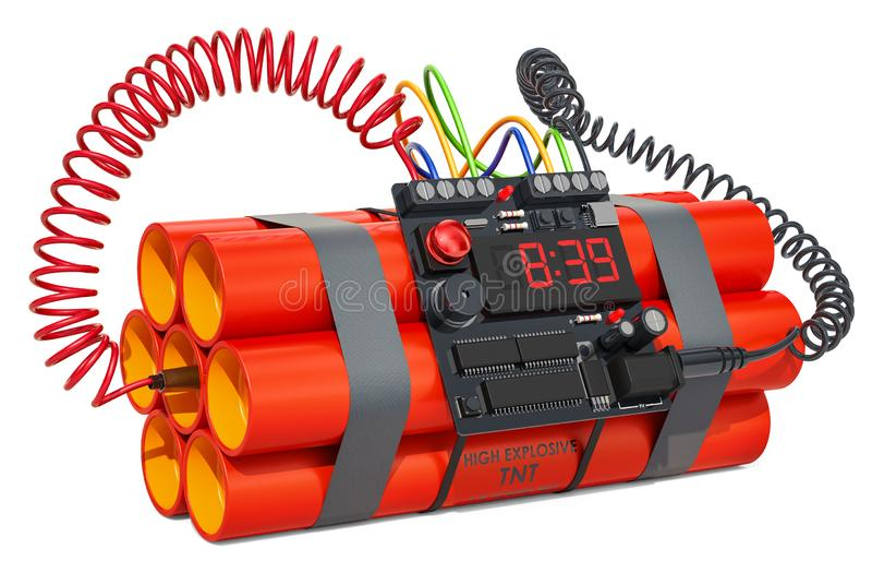 褐色炸药炸弹易爆与数字读秒定时器时钟 3d回报 皇族释放例证