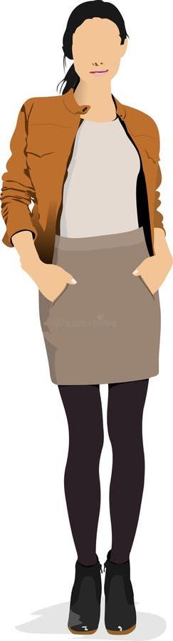 褐色的少女 向量例证