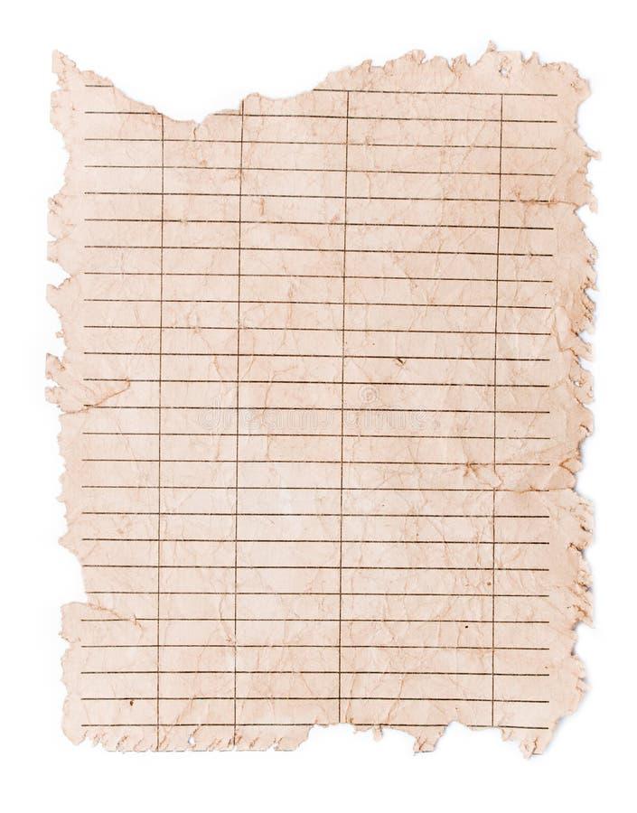 褐色被击碎的老纸张 免版税库存照片